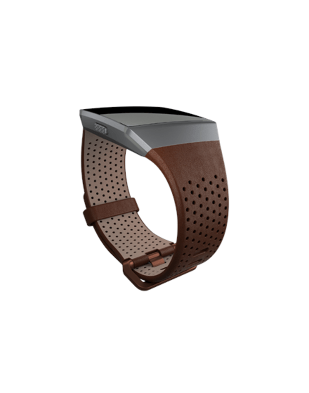 Fitbit Ionic Accessory Perforated Leather Band Dark Brown - Small