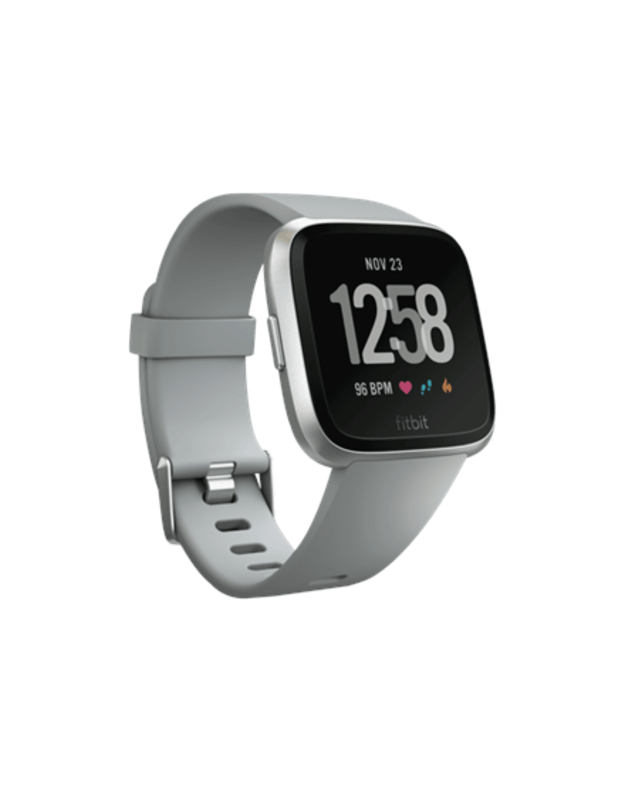 Fitbit Versa Smart watch, NFC, Color LCD, Touchscreen, Activity monitoring 24/7, Bluetooth, Gray/Silver Aluminum